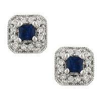 Amazon.com: Square Sapphire & Diamond Stud Earrings: Jewelry