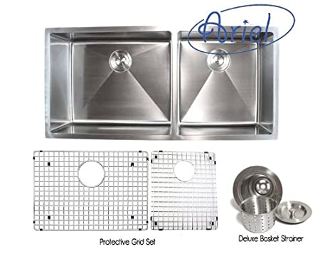 42 inch kitchen sink back splash for ariel stainless steel undermount double bowl 15mm radius design with accessories