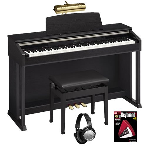 Casio AP-420 Black Digital Piano BUNDLE w/ Matching Bench & Brass Lamp