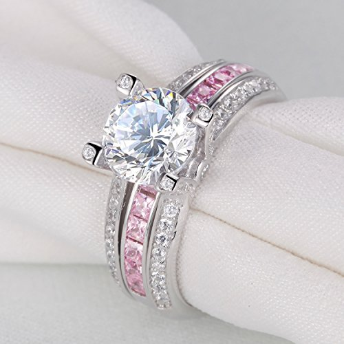 Newshe Jewellery Round Pink Cz 925 Sterling Silver Wedding