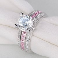 Newshe Jewellery Round Pink Cz 925 Sterling Silver Wedding ...