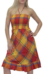 La-Leela-3-in-1-Checks-Backless-HalterNeckCover-up-Casual-DressMaxi-Skirt-Red