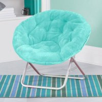 Folding SOFT PLUSH SAUCER CHAIR AQUA Seat Dorm Furniture