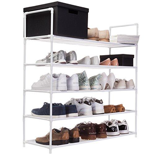 XXL Schuhregal 91 x 88 x 30 cm Schuhablage mit 5 Ablagen für 25 Paar Schuhe als Schuhschrank und Schuhständer