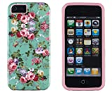 DandyCase 2in1 Hybrid High Impact Hard Vintage Sea Green Floral Pattern + Pink Silicone Case Cover For Apple iPhone 5S & iPhone 5 (not 5C) + DandyCase Screen Cleaner