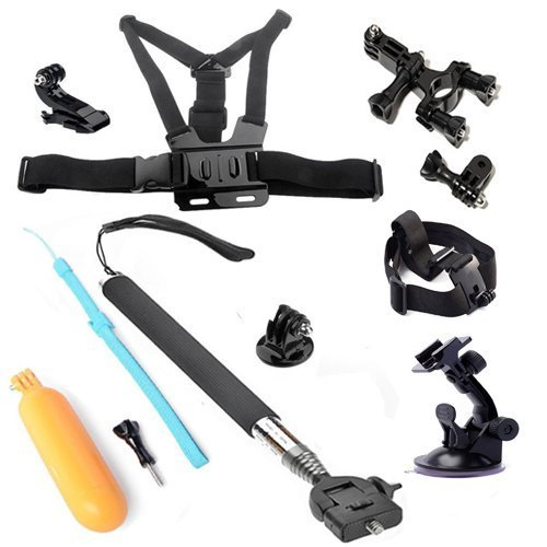 OHCOME 6in1 Gopro Accessories Kit Bundle Combo for GoPro Hero 3+ / 3 / 2 / 1 Digital Cameras - Extendable Telescopic Handheld Pole / Stick Monopod Pod with Tripod Mount Adapter (Black) + Floaty Bobber with Strap Floating Diving Buoyancy Camera with Screw (Orange) + Suction Cup Car Mount with 7CM-Diameter Base Windshield Vacuum + Bike Handlebar Roll Bar Mount Max for 4CM Diameter Seatpost Pole with 3-way Pivot Arm + Head Strap Mount + Chest Mount Harness with J-hook