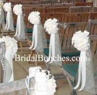 White Tulle & White Satin Wedding Pew Bows Church ...