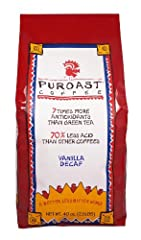 Puroast Low Acid Coffee Natural Vanilla Decaf Whole Bean, 2.5 Pound Bag