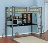 Twin Size Loft Bunk Bed in Charcoal Finish - Monster Bedroom Collection