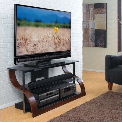 buy low price bello curved wood black glass tv stand for 32 55 inch screens espresso cw343 cw343. Black Bedroom Furniture Sets. Home Design Ideas