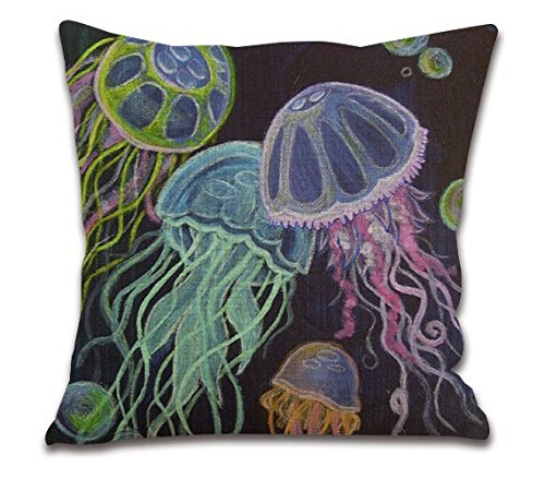 18'Inches Onemore Cotton Linen Square Throw Pillow Case Cushion Cover for Sofa Watercolor Jellyfish-sy222