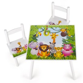 Tisch und Stühle für kinder, 1 Tisch + 2 Stühle Motiv: Dschungel tiere