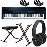 Roland Digital Piano FP-7F-BK Black w Ultimate Support Stand Bench KRK Headphones and Mogami Cables