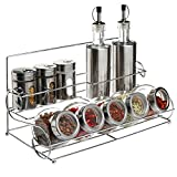 All-in-1 Stainless Steel Condiment Set With 2 Oil / Vinegar Bottle Cruets, 3 Shaker Spice Jars, 5 Glass Canister Jars & Chrome Rack