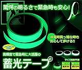 【 驚愕の明るさ 】 高輝度 蓄光テープ 災害 発光 停電 電灯スイッチ 便利 【 緊急時も安心 】 暗い 暗闇 階段 鍵穴の目印 【 幅 2.5cm 長さ 3m 】 AZ-CHIKUKO25-3