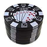 Golden Bell Poker Chip Style 3 Piece Herb Weed Spice Tobacco Pollen Grinder - Black