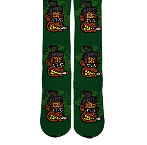 DopeSox Men's Crazy Monkey Smoking Printed 420 Socks One Size (6-12) White