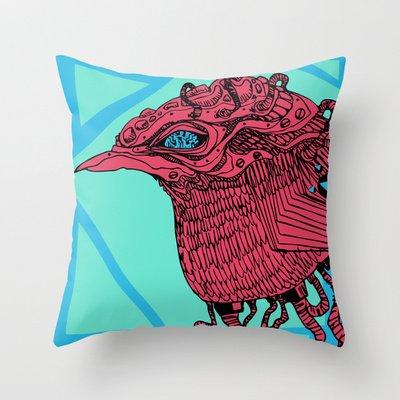 Society6 - Robobird Throw Pillow by 5wingerone