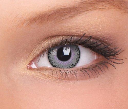 Farbige Kontaktlinsen 3-Monatslinsen & Color Contact lenses Grau Violet / Gray Violet 1 Paar (2 Stück) ohne Stärke