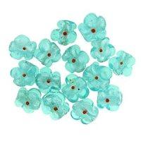 Blue Flower Silver Foil Murano Glass Bracelet Loose Beads