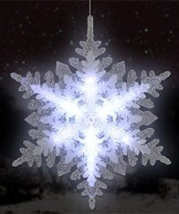 Lighted LED Snowflake Christmas Window Decoration