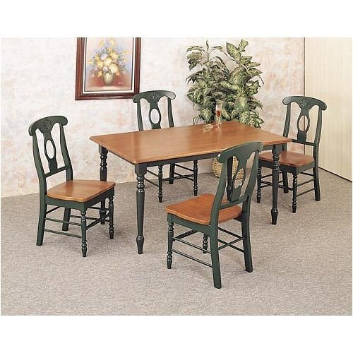 5 Piece Dining Room Sets Amazon Com: Buy Low Price Coaster 5 Piece Oak-Hunter Green Dinette Set