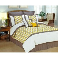 COMFORTER SET Yellow White Gray BED IN A BAG KING SIZE ...