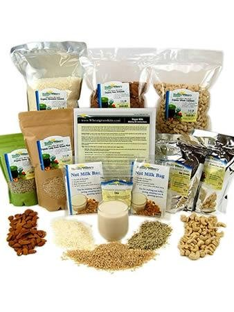 Deluxe Organic Vegan & Nut Milk Kit – Includes 2 Nut Milk Bags, Hemp Hearts, Raw Almonds, Shredded Coconut, Oats, Brown Rice, Flax, Cashews & Chia – Make Your Own Vegan Milks