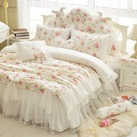 LELVA Girls Bedding Set Lace Ruffle Duvet Cover Princess ...