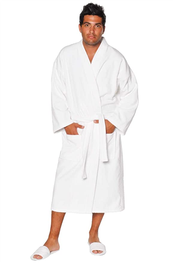 Terry Kimono Bathrobe, 100% Pure Turkish Cotton, Made in Turkey White