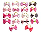PET SHOW Small Bowknot Dog Hair Bows Pet Cat Puppy Grooming Accessories Pack of 20 Color Pink