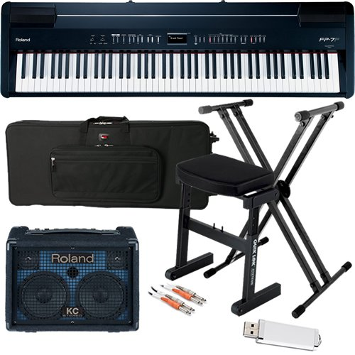 Roland FP-7F Black Digital Piano STAGE BUNDLE w/ Keyboard Amp & Case