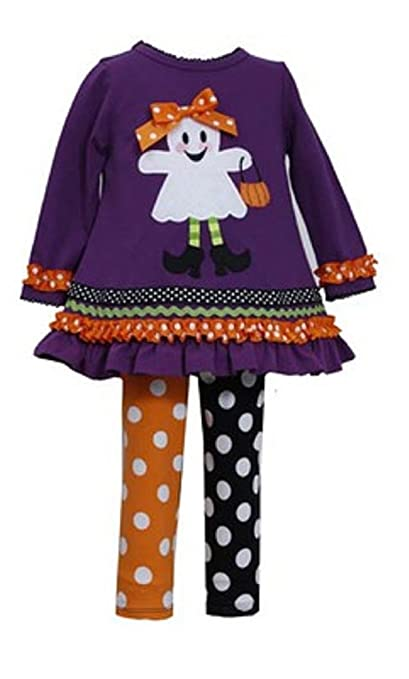 Bonnie Jean Girls Halloween Ghost Holiday Dress Legging Outfit, Purple, 0-3M - 6-9M