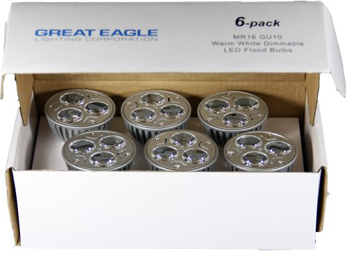 6 pack of genuine great eagle led mr16 gu10 120v warm white bulb 50w replacement ul certified 2700k 60 fully dimmable flood light for recessed and track lighting fixtures 5 year warranty