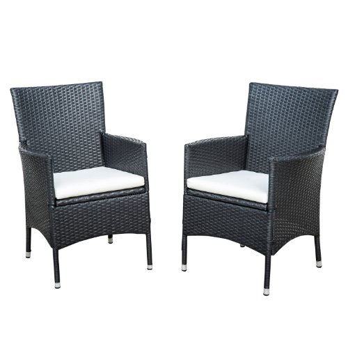 Outsunny Rattan Wicker Outdoor Dining Arm Chairs Black 2