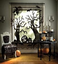 Amazon.com - Heritage Lace Spooky Trees Halloween Curtain ...