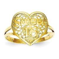 Amazon.com: 14k Yellow Gold Sweet 16 Heart Ring: Jewelry
