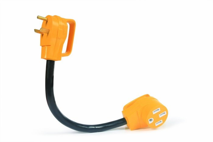 "Amazon.com: Camco 55185 PowerGrip 30M/50F AMP 18"" Dogbone Electrical Adapter This gizmo allows us to plug our 50 AMP power cord into a 30 AMP power outlet. Super handy."