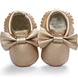 DESDEMONA Bow Tassels Soft Soled Baby Shoes PU Leather Infant Toddler Prewalker Shoes(M(5.3inches), Golden)