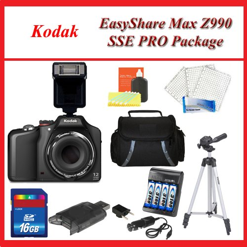 Kodak EasyShare Max Z990 12.0 MP Digital Camera with 30x Optical Zoom and 3.0-Inch LCD With SSE 16GB and Flash Pro Package