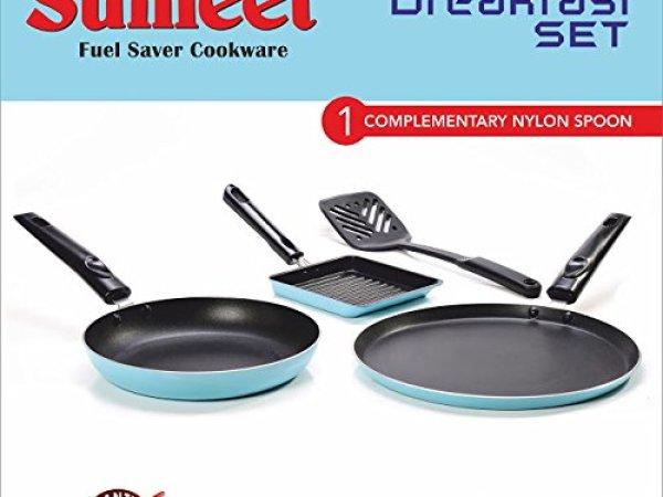 Sumeet Breakfast Set (Dosa Tawa: 10 IN, Tapper Pan: 0.5 Liter, Sandwich Pan: 5 IN),Blue