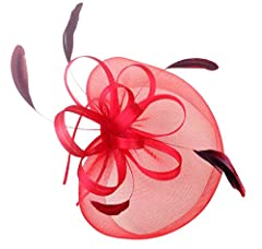 Feather Fascinator Headband and Cocktail Hat (Red)