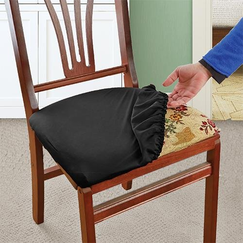 office chair seat covers black royal baby shower stretch n fit fabric renewal cover | ehouseholds.com