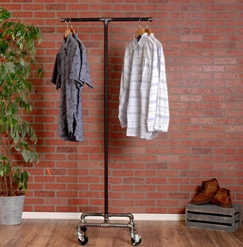 Industrial Pipe Rolling Clothing Rack 2