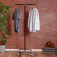 Industrial Pipe Rolling Clothing Rack 2-Way by William ...
