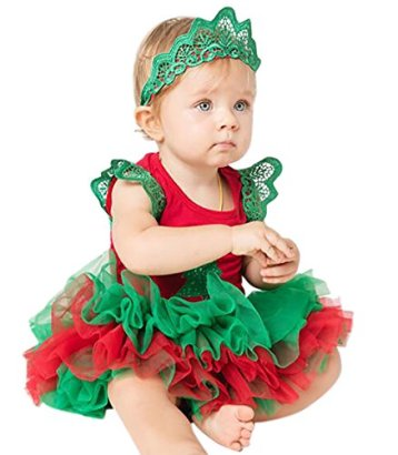 Baby-Girls-Christmas-Tree-Sleeved-Romper-Tutu-Culottes-Skirt-3PCS-Outfits-L-6-12-month-Sleeveless-set