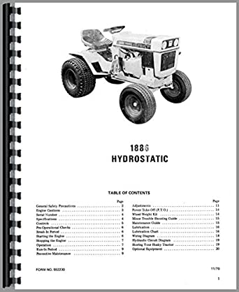 Bolens Husky 1886 Lawn & Garden Tractor Operators Manual