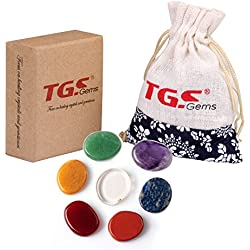 TGS Gems® 7 Piece Chakra Stone Palm Stone Crystal Reiki Healing with One Pouch PS008