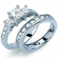 Amazon.com: Princess Cut Diamond Engagement Ring Set ...