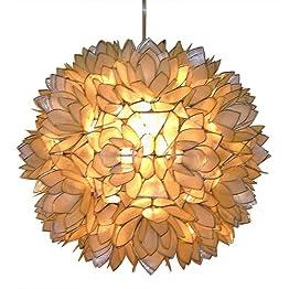 Capiz Shell Floral Pendant Light - White